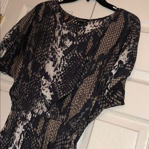 Express Silk Printed Elastic Waist Mini Dress !